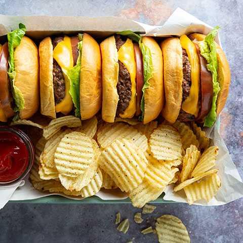 American Cheese Burger on Brioche Burger Bun