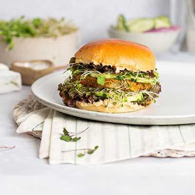 Deluxe Veggie Burger on Vegan Brioche Style Burger Bun