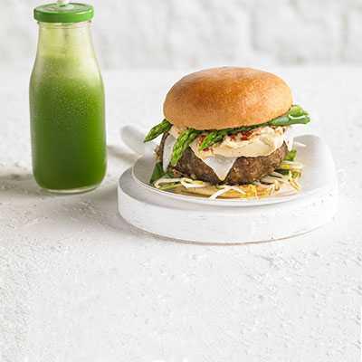 Egg Asparagus Cheeseburger on Brioche Burger Buns