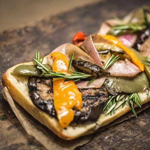 Eggplant Pizza on Ciabatta