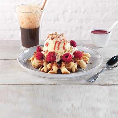 Raspberry Belgian Waffle Ice Cream