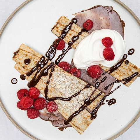 Raspberry & Chocolate Drizzle Crepes