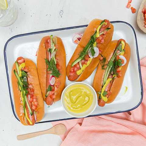 Salsa Hot Dog on Brioche Hot Dog Bun
