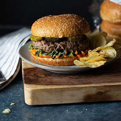 Spicy Hamburger on Whole Grain Brioche Burger Bun