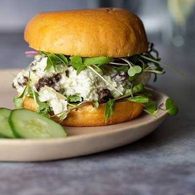 Vegan Chicken Salad Sandwich on Vegan Brioche-Style Bun