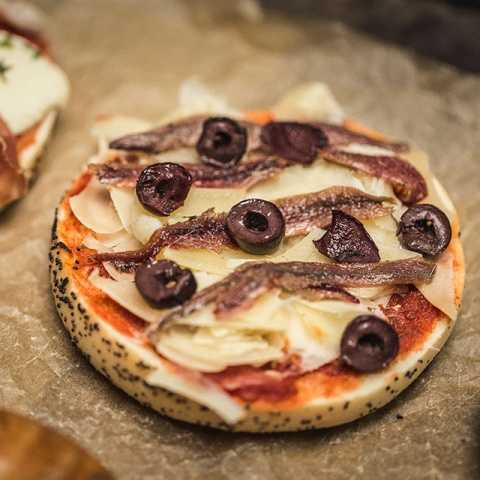 bagel Anchovy Pizza Bagel